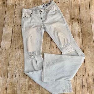 Light Wash Distressed Flare Jeans